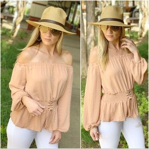 Infinity Raine Tops - Camel corset waist tunic